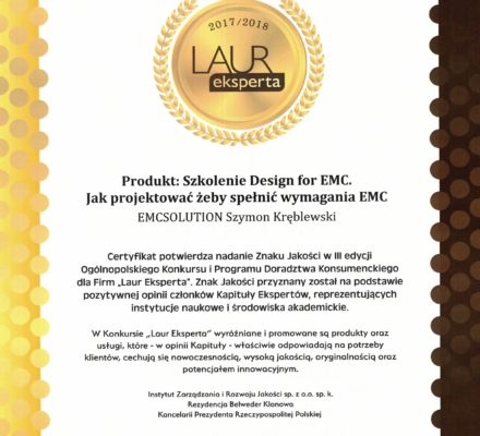 Laur Eksperta dla Design for EMC