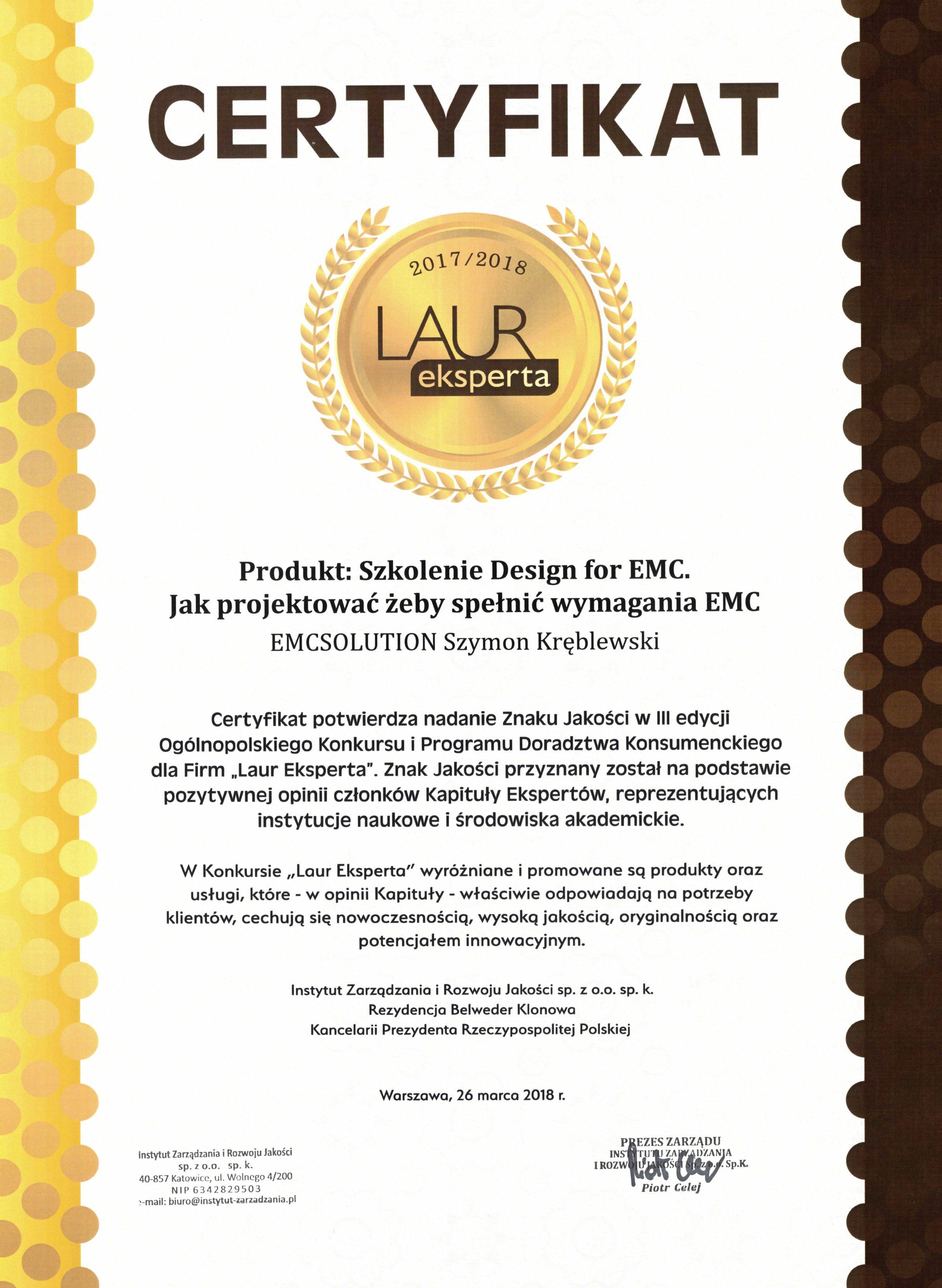 Laur Eksperta dla Design for EMC