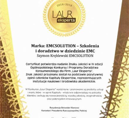 Laur Eksperta dla EMCSOLUTION