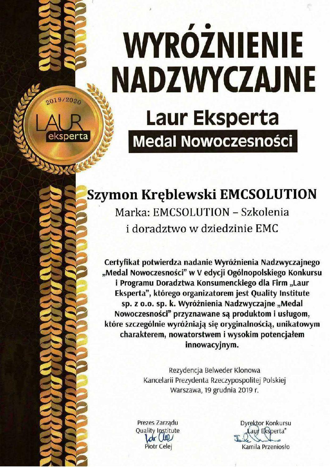 Medal Nowoczesności dla EMCSOLUTION